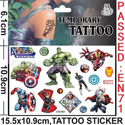 [SYZ Beauty Waterproof Temporary the Avengers Tattoos Cg052] (Black Widow Marvel Makeup)