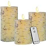 LED Kerzen, 3er Echtwachs Flammenlose Stumpenkerzen mit Timer, Realistischem Effekt Flackernden Docht und Tanzende LED Flammen, Fernbedienung, Batteriebetrieben, 300+ Stunden