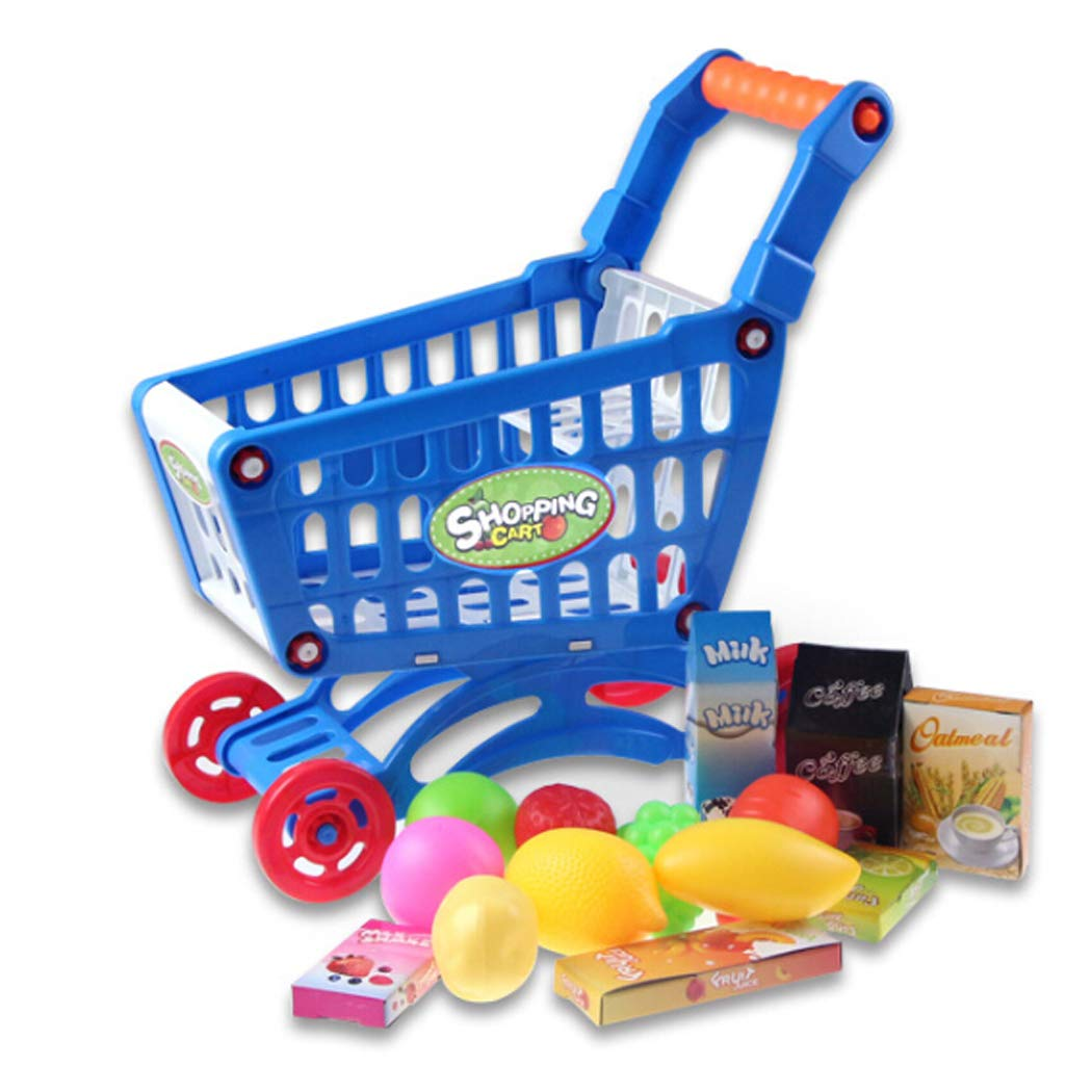 Kigin Pretend Play Food Toy, DIY Mini Shopping Cart Toy for Groceries for Girl Boy Kids Children (Blue)
