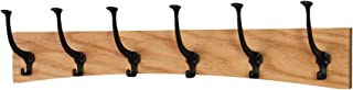 """product image for PegandRail Oak Wall Mounted Coat Rack - Arched Back Design - Black Mission Hooks - Made in The USA (Natural, 30.5"""" x 6.5"""" - 6 Hooks)"""