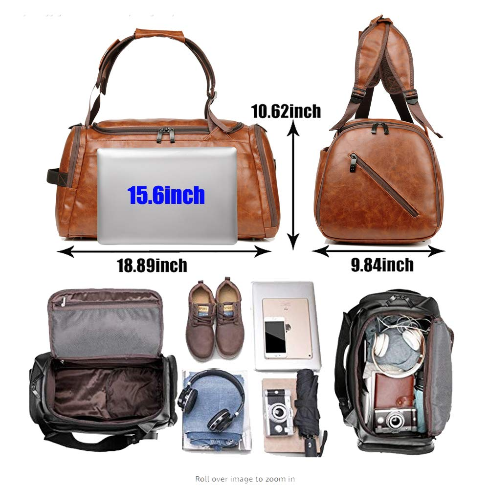 Leather Duffel Bag | Large Capacity Weekend Overnight Travel Gym Sport Luggage Tote for Men and Women – By (YOUR BRAND NAME) (vintage brown) by sdiyabolo (Image #6)