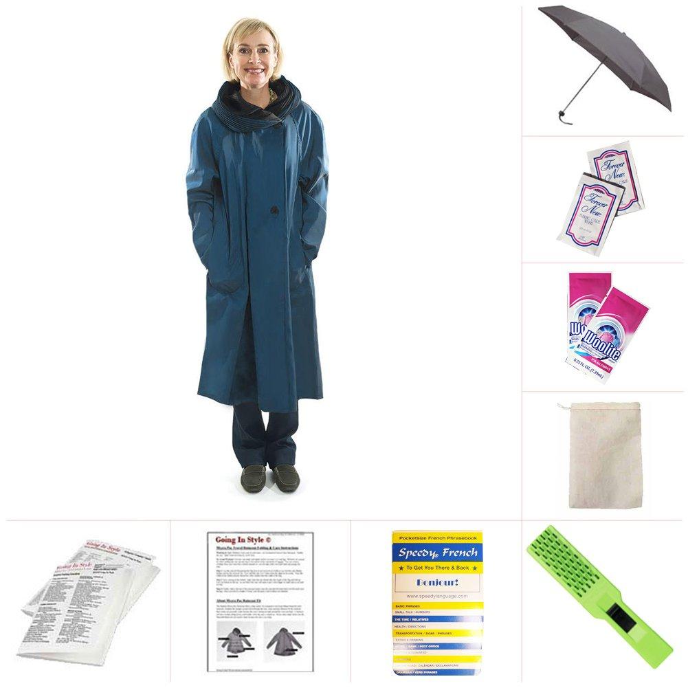 Mycra Pac Tea Length Donatella Fashion Travel Raincoat (Extra Small, Sapphire) by Mycra Pac