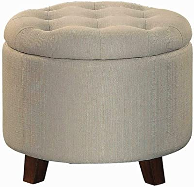 Modern Tufted Ottoman With Storage, Beige Color, Polyester Material, Easy  Assembly, Stylish