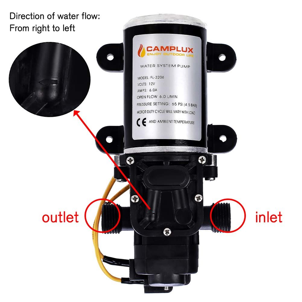 camplux 12v water pump 65psi dc 1 6gpm 6lpm diaphragm for caravan rv rh amazon com tankless water heater wire size