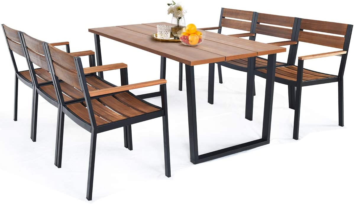 HAPPYGRILL 7 Piece Patio Dining Set Outdoor Dining Furniture with 6 Armchair, Heavy Duty Steel Frame, Acacia Wood Table Top, Umbrella Hole, Patio Furniture Set for Backyard Garden Poolside