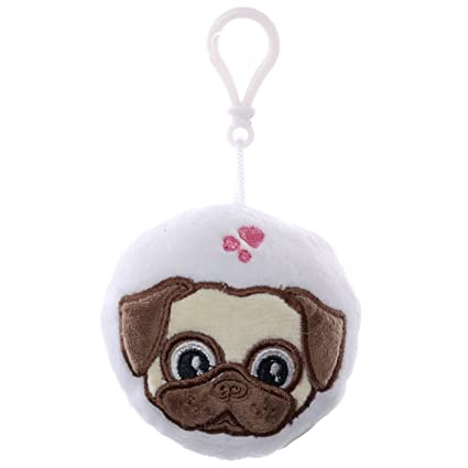 Portachiavi morbido in peluche con suoni design Pug Carlino con Scritta PUGS AND KISSES