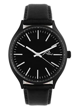 Amazon.com: Plus Watches Classic Leather Watch in Black and Black Leather: Plus: Watches