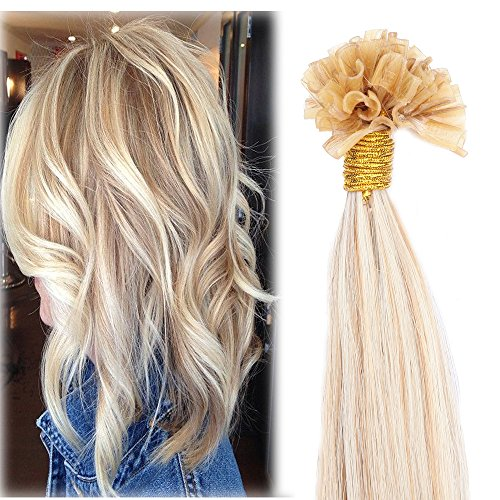 (Ombre U Tip Fusion Human Hair Extensions 18 inch Hightlighted Color Ash Blonde mixed Bleach Blonde Keratin Prebonded Nail Tipped 100 Strands 50gram Per Package (18