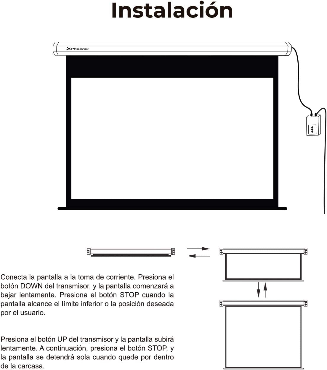 Phoenix Technologies Pantalla proyector electricas (2.4 x 2.4m ...