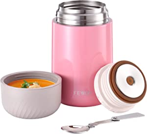 Food Jar - 27oz Vacuum Insulated Stainless Steel Lunch Thermos,Leak Proof Soup Containers with Folding Spoon for Hot or Cold Food (Pink)