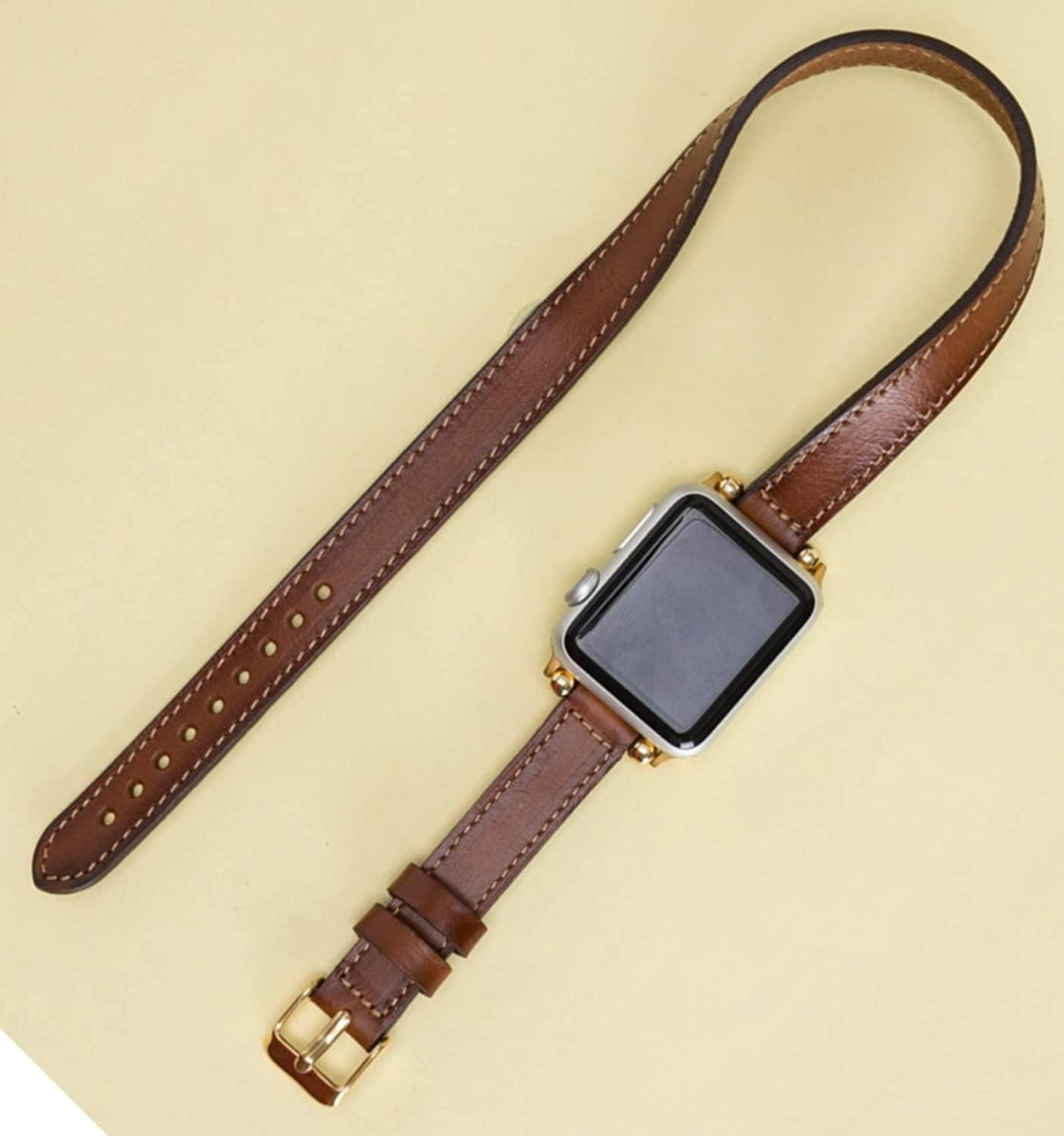 Slim Apple Watch Leather Band for Women Double Tour Thin iWatch Strap 38mm, 40mm, 42mm, 44mm Double Wrap Band Genuine Leather Handmade Engraving Available, READY to SHIP, FREE EXPEDITED SHIPPING