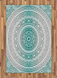 Ambesonne Grey and Teal Area Rug, Mandala Ombre Design Sacred Space Geometric Center Point Boho Meditation Art, Flat Woven Accent Rug for Living Room Bedroom Dining Room, 4 X 5.7 FT, Grey Teal