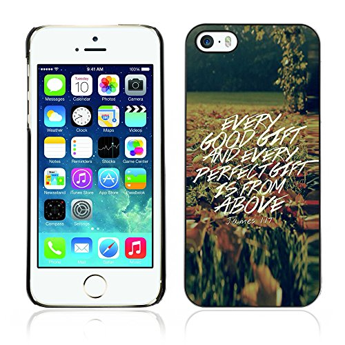DREAMCASE Citation de Bible Coque de Protection Image Rigide Etui solide Housse T¨¦l¨¦phone Case Pour APPLE IPHONE 5 / 5S - JONES 1:17 EVERY GOOD GIFT IS FROM ABOVE