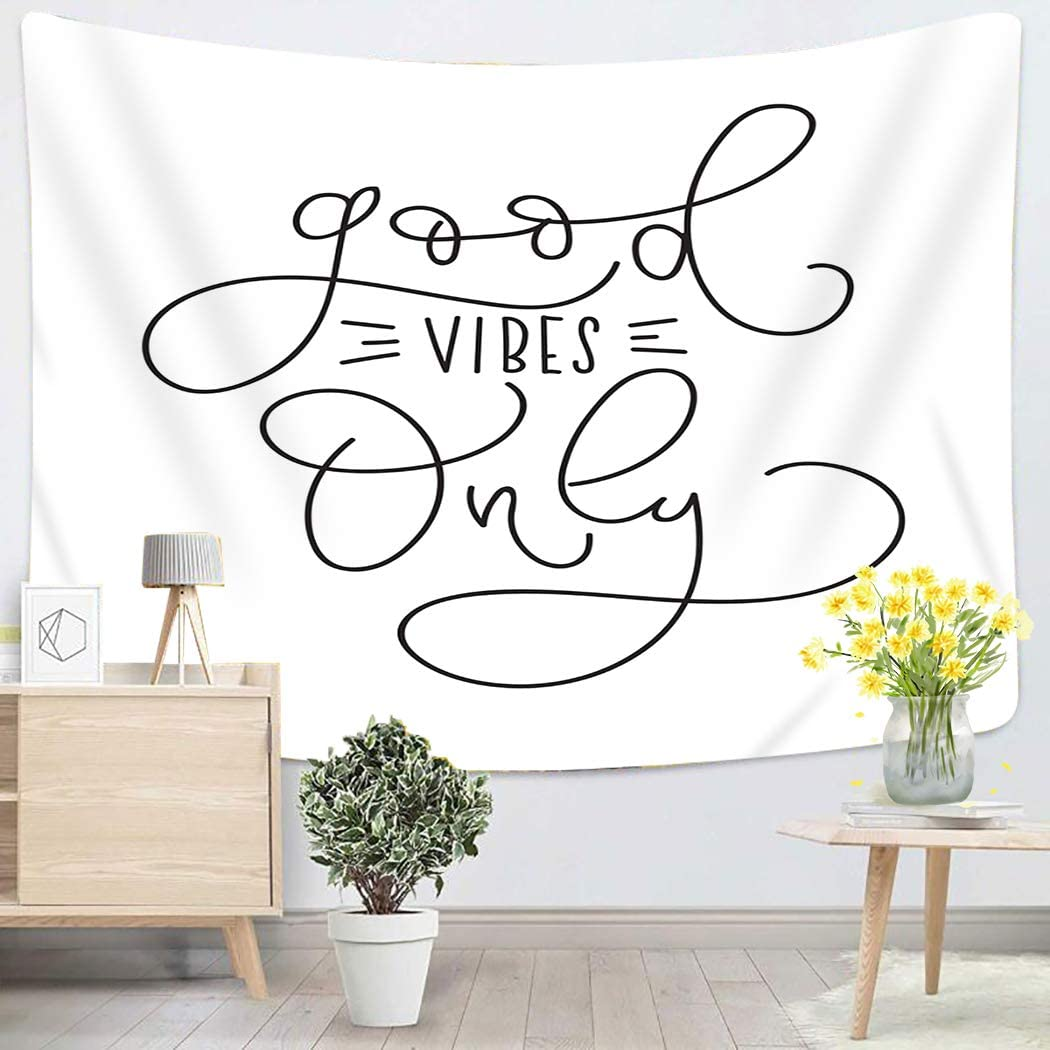 Sgvsdg Inspirational Tapestry Good Vibes Only Quote Modern Home Decoration Wall Tapestry for Bedroom 60X80 Inches Can Be Hung in The Dormitory Living Beach