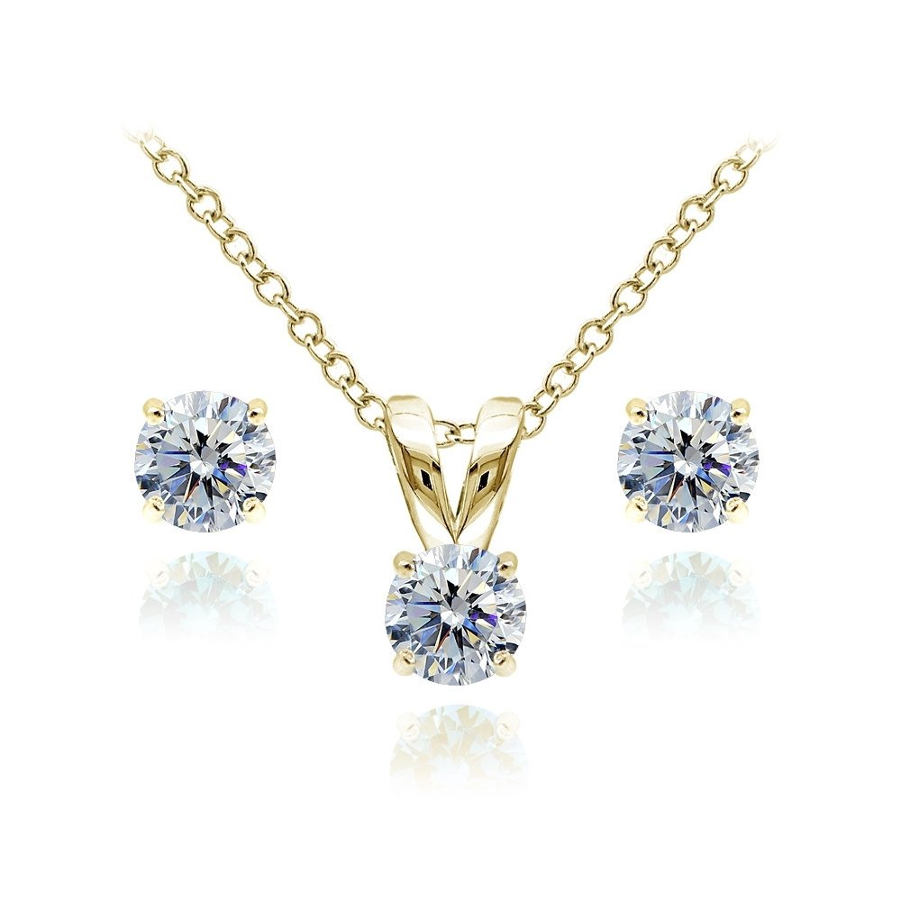 Yellow Gold Flashed Sterling Silver Solitaire Clear Necklace and Stud Earrings Set created with Swarovski Crystals