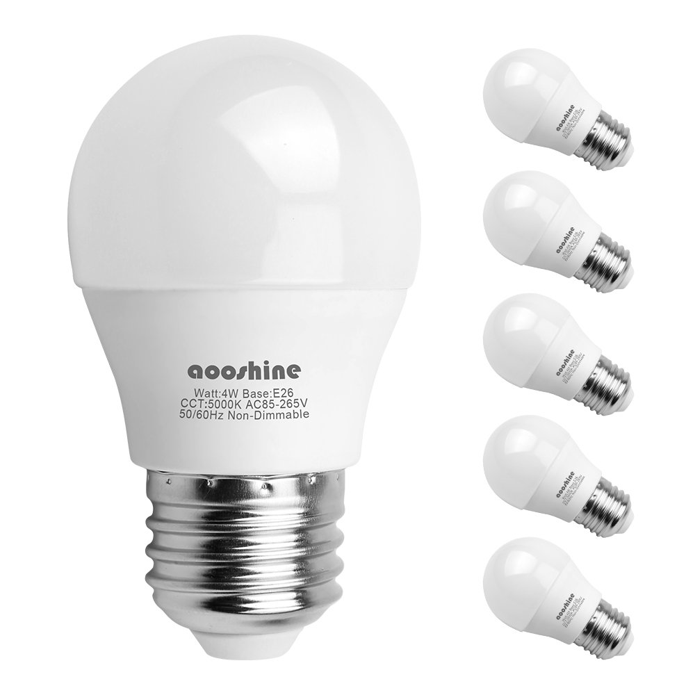 LED Globe Light Bulbs 40 Watts, Aooshine 4 Watt Daylight White 5000K LED Bulb, E26 Medium Screw Base 400 Lumens A15/G45 Shape Decorative Edison Home Lighting Non-Dimmable (Pack of 6)