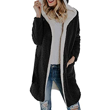 iFOMO Womens Winter Warm Long Sleeve Casual Fleece Hoodie with Pockets Open  Front Cardigan Outwear Coat at Amazon Women s Coats Shop 03c4b373e