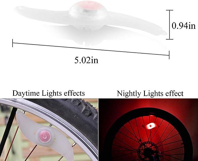 y Compris la Batterie Clignotants Bleus au N/éon LED et Feux de Signalisation de S/écurit/é de Bicyclette de Pneu Imperm/éable Teguangmei 6Pcs Bicyclette Hot Wheel Spoke Lights