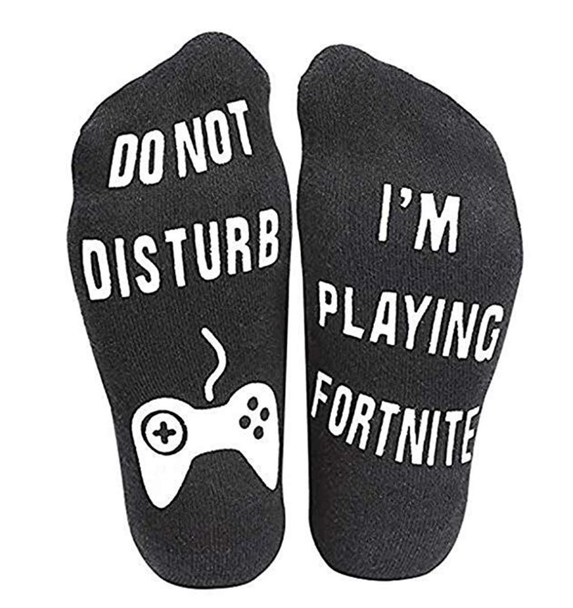 Heyuni.1pair DO NOT Disturb I AM Playing FORTNITE Casual Fashionable Socks, A1