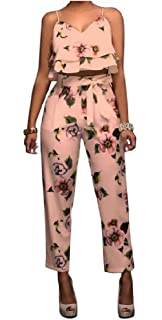 bde6dedb822 Winwinus Womens Chic Floral Printing Top and Pants 2 Piece Lacing Trousers