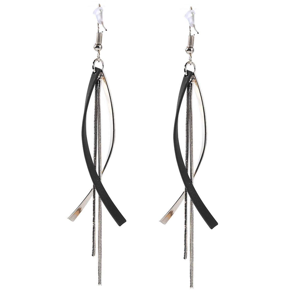 LALANG Simple Geometric Tassel Female Temperament Anti-Allergy Long Earrings Ear Hook(Black)