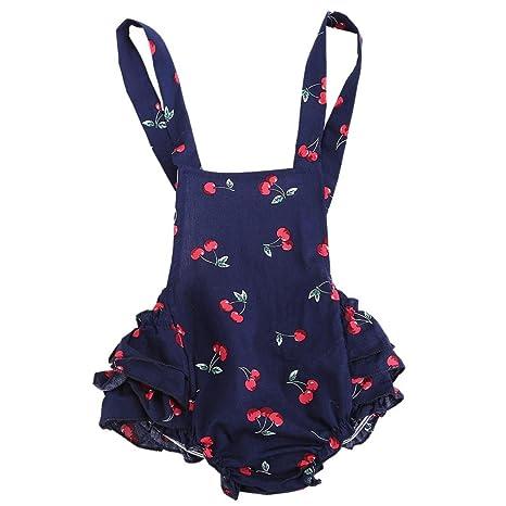 Para 0 – 24 Mes, webla bebé Infant bebé Pelele de Cherry volantes cumpleaños fiestas