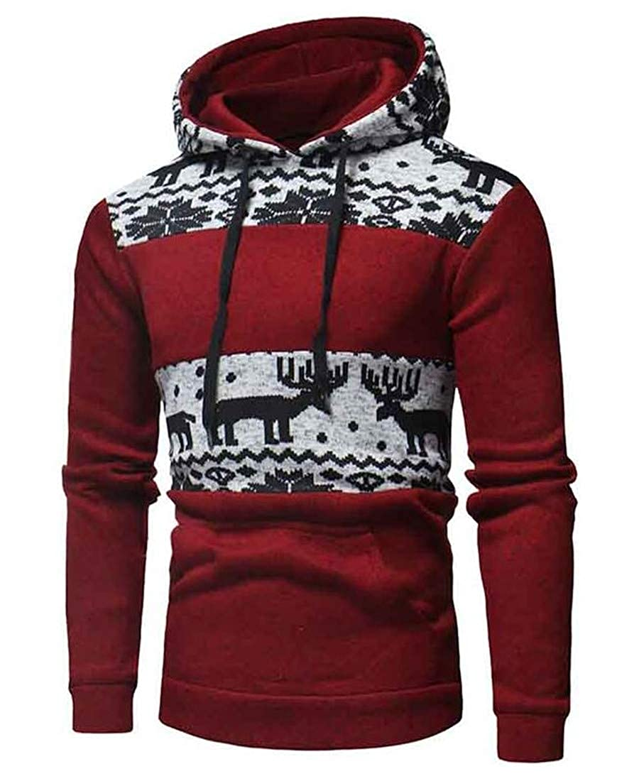 Wofupowga Mens Drawstring Knitted Elk Classic Hoodie Pullover Sweatshirts
