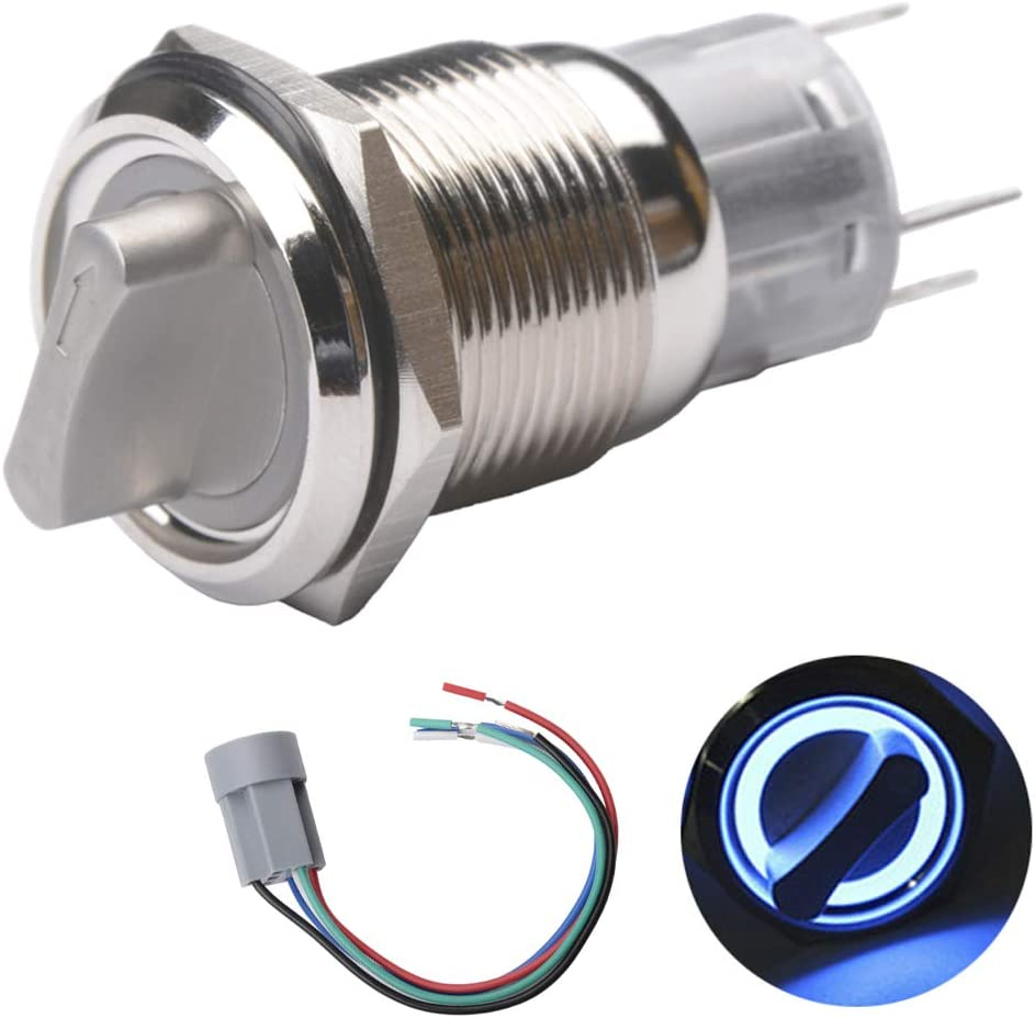 [SCHEMATICS_4UK]  Amazon.com: Quentacy 19mm 2 Positon Latching Rotary Toggle Switch SPST  On/Off Round Select Switch with Wire Socket Angel Eye Blue 12V DC LED  Light: Automotive | Rotary Switch Spst Wiring Diagram |  | Amazon.com