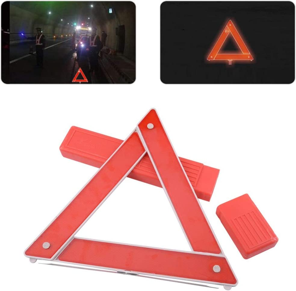 Car Red Foldable Red Reflective Warning Triangle Frame Emergency Breakdown Safety Hazard Travel Kit for VW Audi BMW Honda