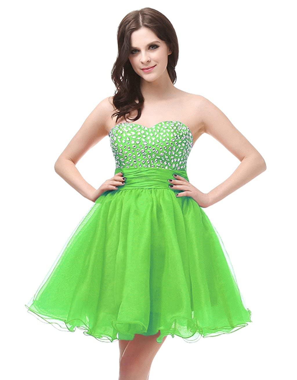 Lemon Green Vantexi Women's Strapless Short Prom Homecoming Dress Party Gown