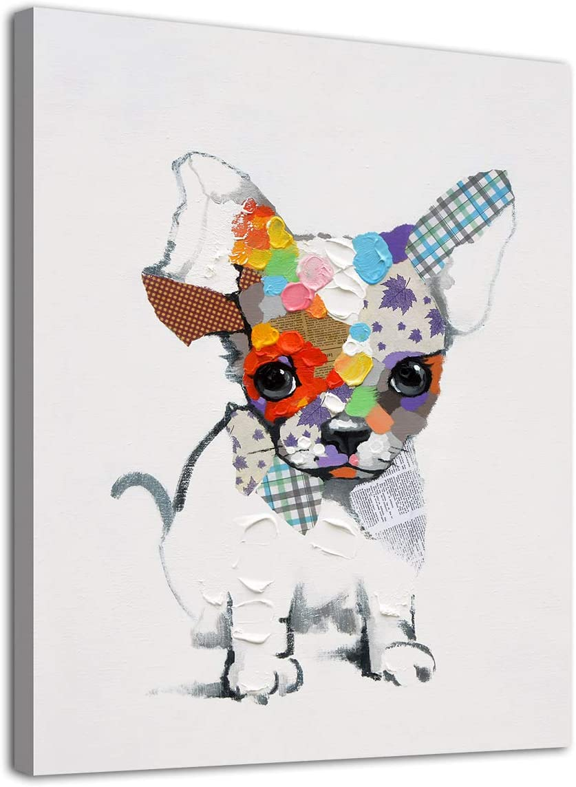 """arteWOODS Dog Wall Art Nursery Canvas Picture for Kids Bedroom Wall Decor Modern Dog Canvas Art for Home Decoration 12"""" x 16"""""""