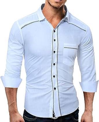 YanHoo®Camisas hombre La manga larga del algodón puro de los hombres adelgaza la camisa del botón otoño Mens Casual puro color manga larga camisa negocio Slim Fit camisa impresa blusa (Blanco, M):