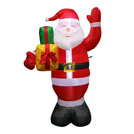 aparty4u 5ft christmas inflatables outdoor santa claus carry gift box xmas airblown inflatable christmas decoration