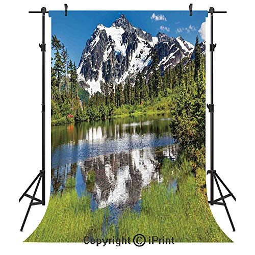 Lake House Decor Photography Backdrops,Picture of Lake Evergreens Mount Shuksan Highway Washington Pacific Northwest USA,Birthday Party Seamless Photo Studio Booth Background Banner 5x7ft,Green ()