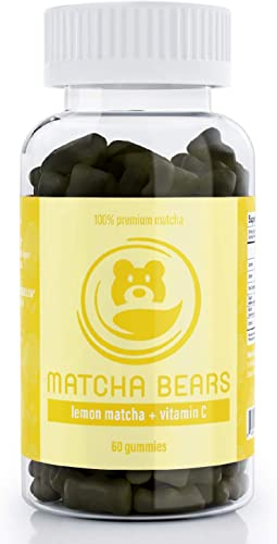 Matcha Bears Lemon Vitamin C Infused Matcha Gummy Vitamin Antioxidant Supplement, Made with 100 Premium Green Tea Matcha Powder 60 Gummies 1 Pack