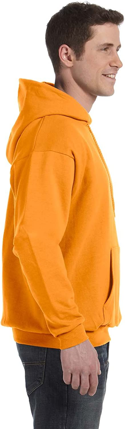 Hanes Mens EcoSmart Hooded Sweatshirt XL 1 Black 1 Safety Orange