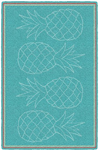 Brumlow Mills Aqua Pineapples Kitchen and Entryway Rug, 1'8