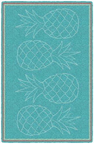 (Brumlow Mills LW10083-20x34 Aqua Pineapples Kitchen and Entryway Rug, 1'8