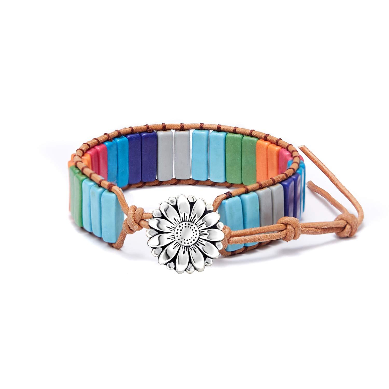 Friendship Weave Yoga Bracelets Handmade Bracelets for Women Girls Adjustable 7 Chakra Boho Woven Bracelet Gemstone Bohemian Bracelet Nature Stone Bangle Bracelets w//Sunflower//Tree of Life Button