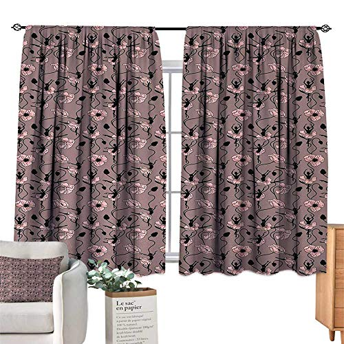 Warm Family Light Luxury high-end Curtains Abstract,Blooming Flowers and Ballerina Silhouettes Dance Figures with Petals,Rose Black Dried Rose Set of Two Panels 55