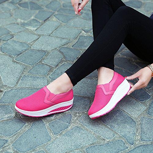 Enllerviid Kvinnor Halkar På Mesh Platåskor Forma Upp Walking Fitness Toning Sneakers 1608 Ökade