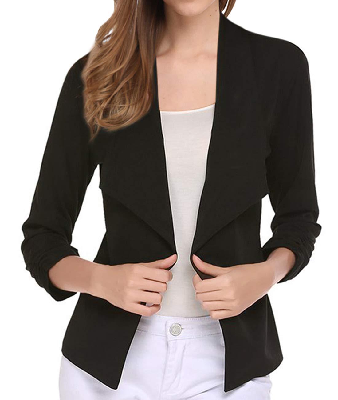 VeryAnn Women's Black White Coat Outwear Blazer Open Front Sweater Cardigans (Black, Small)