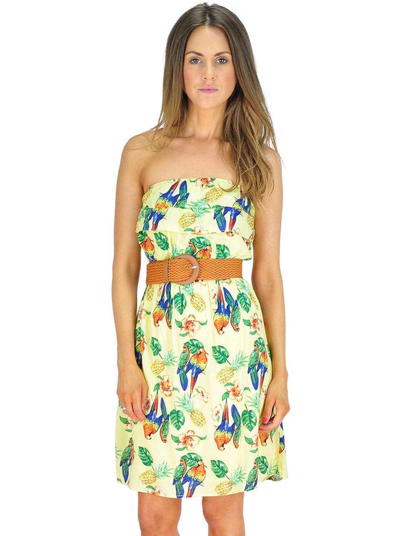 Frauen trägerlosen gelben Kleid mit Ananas und Papageien tropischen ...