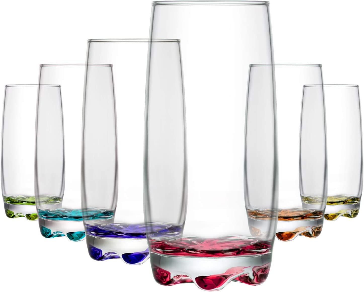 LAV Drinking Glasses Multicolored 6-Piece, 13 Ounce Highball Glass Set for Water & Beverages & Juice & Cocktails, Vibrant Glass Cups, Dishwasher Safe