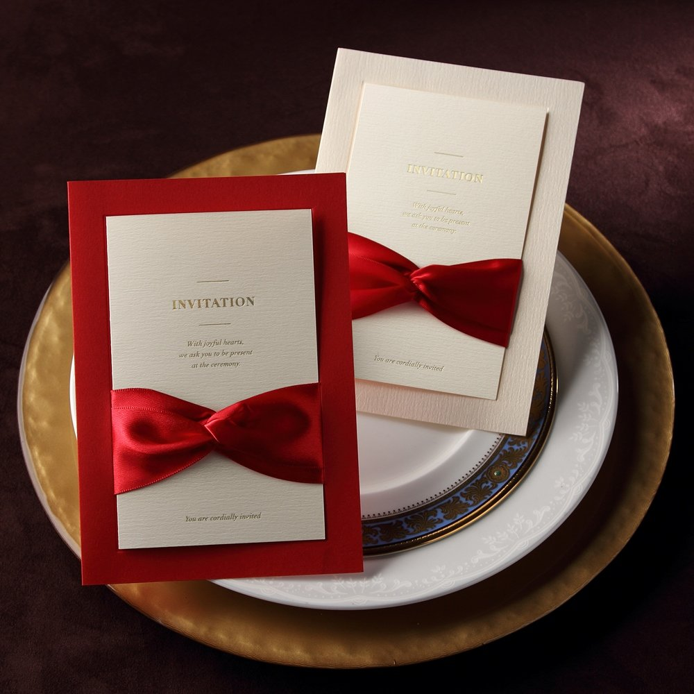 BHands 50 X Wedding Engagement Invitations Card with Ribbon Bridal ...