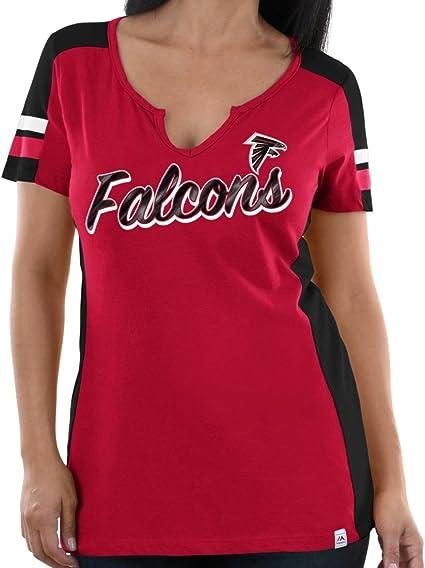 Gray Small NFL Atlanta Falcons Ultra Game Womens SHORT CAP SLV W// DEEP VEE