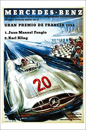 Mercedes Benz Auto Racing Promotion Vintage Poster (12x18 Collectible Art Print, Wall Decor Travel Poster)