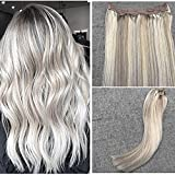 "Ugeat 22"" Flip on Remy Straight Human Hair Extensions Piano Color Blonde Mix Color 100% Real Human Wire Hair Extensions with Fish Line 80 Gram"