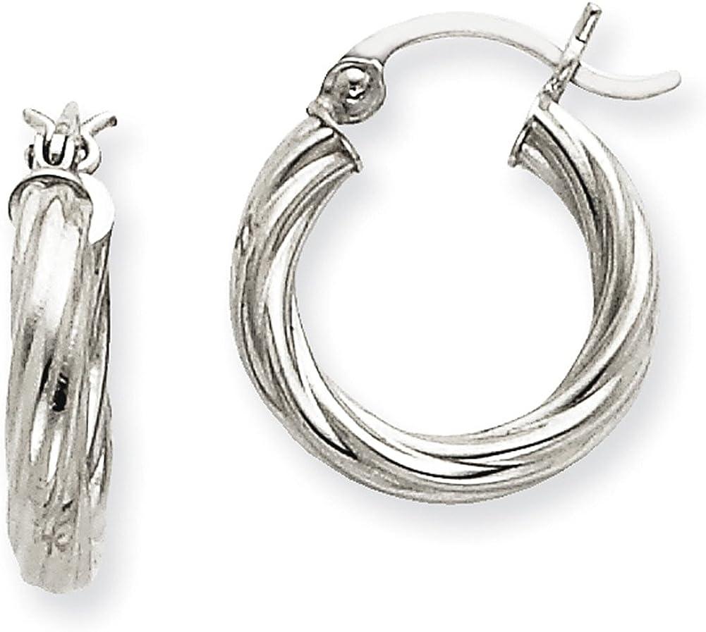 Lex /& Lu 14k White Gold Polished 3.25mm Twisted Hoop Earrings LAL81758