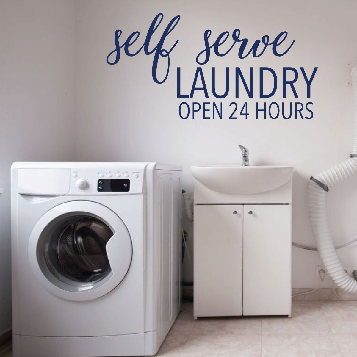 Amazon.com: Laundry Room Wall Decal - Self Serve Open 24 ...